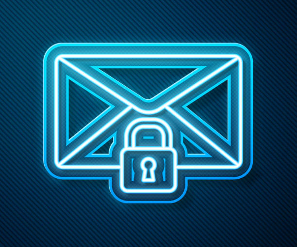 Glowing neon line Mail message lock password icon isolated on blue background. Envelope with padlock. Private, security, secure, protection, privacy. Vector Illustration Glowing neon line Mail message lock password icon isolated on blue background. Envelope with padlock. Private, security, secure, protection, privacy. Vector Illustration blue symbols stock illustrations
