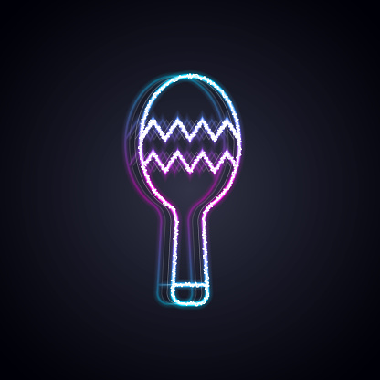 Glowing neon line Maracas icon isolated on black background. Music maracas instrument mexico. Vector