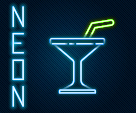 Glowing neon line Martini glass icon isolated on black background. Cocktail icon. Wine glass icon. Colorful outline concept. Vector Illustration