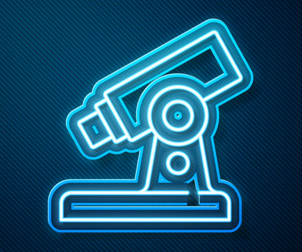 Glowing neon line Microscope icon isolated on blue background. Chemistry, pharmaceutical instrument, microbiology magnifying tool. Vector Glowing neon line Microscope icon isolated on blue background. Chemistry, pharmaceutical instrument, microbiology magnifying tool. Vector. macrophotography stock illustrations