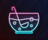 Glowing neon line Mixed punch with fresh fruits in bowl icon isolated on black background. Vector Illustration