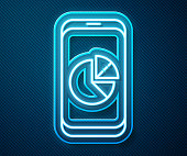 Glowing neon line Mobile phone with graph chart icon isolated on blue background. Report text file. Accounting sign. Audit, analysis, planning. Vector Illustration