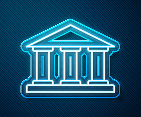 Glowing neon line Museum building icon isolated on blue background. Vector Illustration