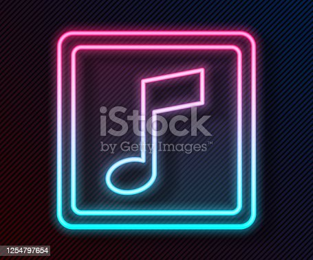 istock Glowing neon line Music note, tone icon isolated on black background. Vector Illustration 1254797654