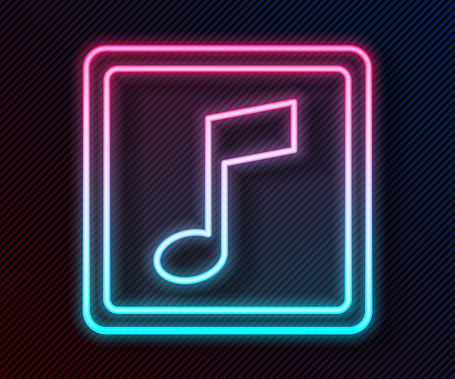 Glowing neon line Music note, tone icon isolated on black background. Vector Illustration