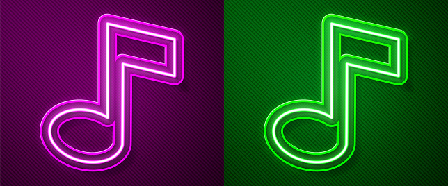 Glowing neon line Music note, tone icon isolated on purple and green background. Vector