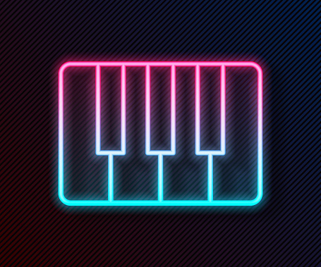 Glowing neon line Music synthesizer icon isolated on black background. Electronic piano. Vector Illustration