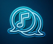 Glowing neon line Musical note in speech bubble icon isolated on blue background. Music and sound concept. Vector Illustration