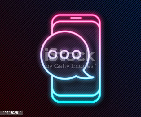 istock Glowing neon line New chat messages notification on phone icon isolated on black background. Smartphone chatting sms messages speech bubbles. Vector Illustration 1254802811