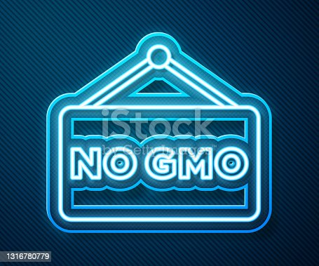 istock Glowing neon line No GMO icon isolated on blue background. Genetically modified organism acronym. Dna food modification. Vector 1316780779