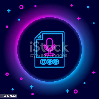 istock Glowing neon line OGG file document. Download ogg button icon isolated on black background. OGG file symbol. Colorful outline concept. Vector 1293793226