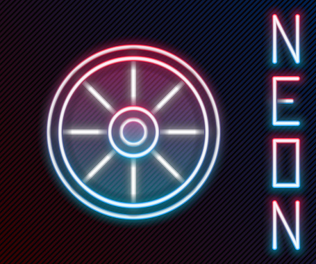 Glowing neon line Old wooden wheel icon isolated on black background. Colorful outline concept. Vector Illustration