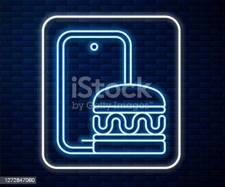 Glowing neon line Online ordering and fast food delivery icon isolated on brick wall background. Burger sign. Vector.