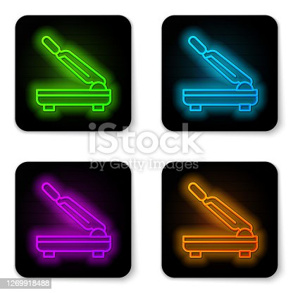 Glowing neon line Paper cutter icon isolated on white background. Black square button. Vector.