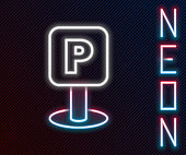 Glowing neon line Parking icon isolated on black background. Street road sign. Colorful outline concept. Vector Illustration