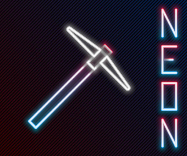 Glowing neon line Pickaxe icon isolated on black background. Colorful outline concept. Vector Illustration Glowing neon line Pickaxe icon isolated on black background. Colorful outline concept. Vector Illustration mattock stock illustrations