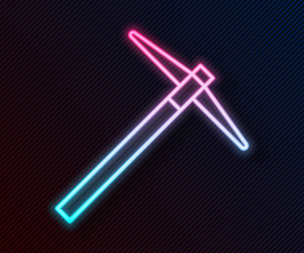 Glowing neon line Pickaxe icon isolated on black background. Vector Illustration Glowing neon line Pickaxe icon isolated on black background. Vector Illustration mattock stock illustrations