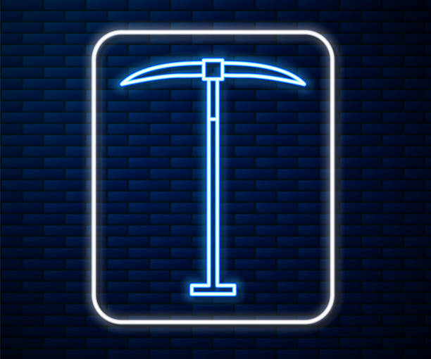 Glowing neon line Pickaxe icon isolated on brick wall background. Vector Illustration Glowing neon line Pickaxe icon isolated on brick wall background. Vector Illustration mattock stock illustrations