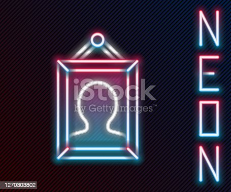 Glowing neon line Picture icon isolated on black background. Colorful outline concept. Vector Illustration