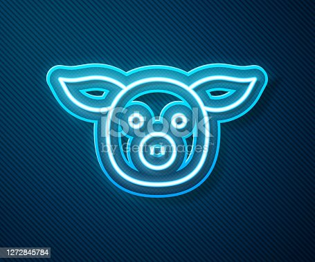 Glowing neon line Pig icon isolated on blue background. Animal symbol. Vector.