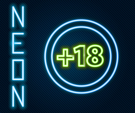 Glowing neon line Plus 18 movie icon isolated on black background. Adult content. Under 18 years sign. Colorful outline concept. Vector Illustration