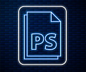 Glowing neon line PS File document icon isolated on brick wall background. Vector Illustration
