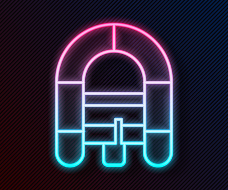 Glowing neon line Rafting boat icon isolated on black background. Inflatable boat. Water sports, extreme sports, holiday, vacation. Vector Illustration