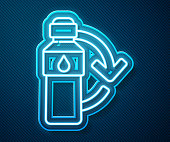 istock Glowing neon line Recycling plastic bottle icon isolated on blue background. Vector Illustration 1225815554