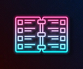 Glowing neon line Restaurant cafe menu icon isolated on black background. Vector Illustration