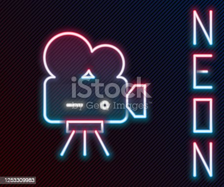 Glowing neon line Retro cinema camera icon isolated on black background. Video camera. Movie sign. Film projector. Colorful outline concept. Vector Illustration