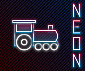 Glowing neon line Retro train icon isolated on black background. Public transportation symbol. Colorful outline concept. Vector Illustration