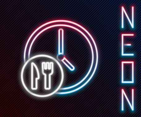 Glowing neon line Round the clock delivery icon isolated on black background. Colorful outline concept. Vector