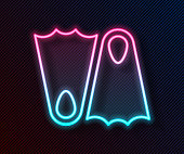 Glowing neon line Rubber flippers for swimming icon isolated on black background. Diving equipment. Extreme sport. Sport equipment. Vector Illustration