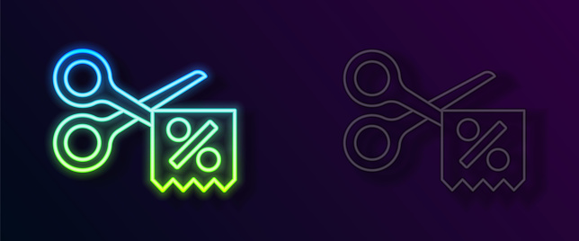 Glowing neon line Scissors cuts discount coupon icon isolated on black background. The concept of selling in an online supermarket at low prices or half the cost. Vector