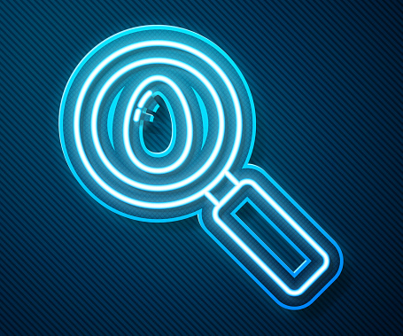Glowing neon line Search and easter egg icon isolated on blue background. Happy Easter. Vector Illustration