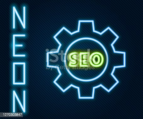 Glowing neon line Seo tag with gear wheel icon isolated on black background. Colorful outline concept. Vector Illustration
