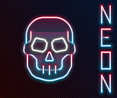 istock Glowing neon line Skull icon isolated on black background. Happy Halloween party. Colorful outline concept. Vector 1272477368