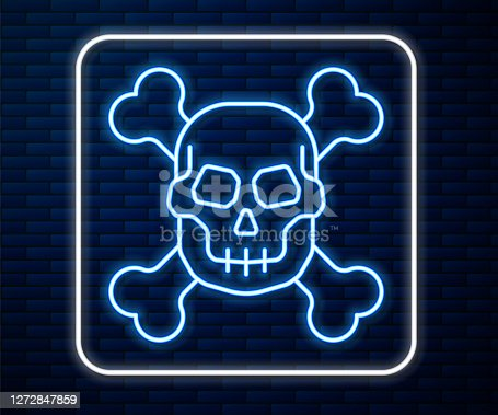istock Glowing neon line Skull on crossbones icon isolated on brick wall background. Happy Halloween party. Vector 1272847859