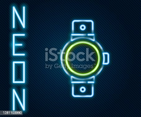 Glowing neon line Smartwatch icon isolated on black background. Colorful outline concept. Vector.