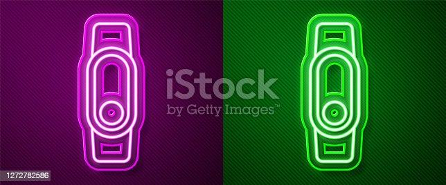 Glowing neon line Smartwatch icon isolated on purple and green background. Vector.