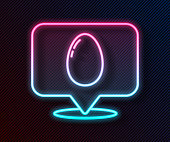 Glowing neon line Speech bubble with easter egg icon isolated on black background. Happy Easter. Vector Illustration