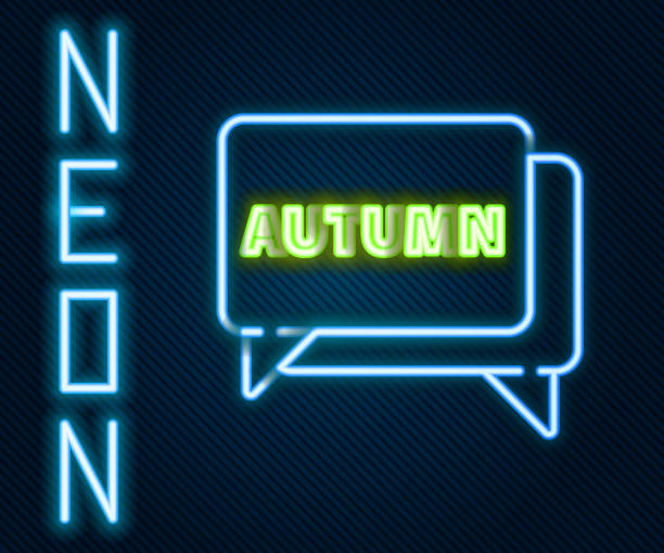 Glowing neon line Speech bubble with text autumn icon isolated on black background. Colorful outline concept. Vector Illustration Glowing neon line Speech bubble with text autumn icon isolated on black background. Colorful outline concept. Vector Illustration holiday and seasonal icons stock illustrations
