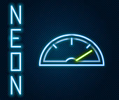 istock Glowing neon line Speedometer icon isolated on black background. Colorful outline concept. Vector Illustration 1223131877