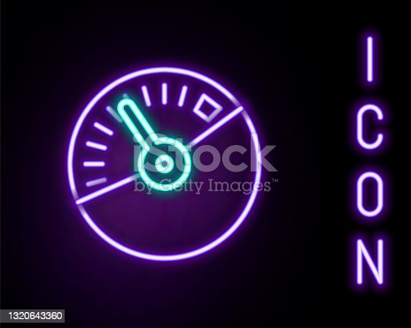 istock Glowing neon line Speedometer icon isolated on black background. Colorful outline concept. Vector 1320643360