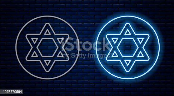 istock Glowing neon line Star of David icon isolated on brick wall background. Jewish religion symbol. Symbol of Israel. Vector 1297770594