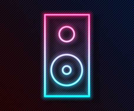 Glowing neon line Stereo speaker icon isolated on black background. Sound system speakers. Music icon. Musical column speaker bass equipment. Vector Illustration