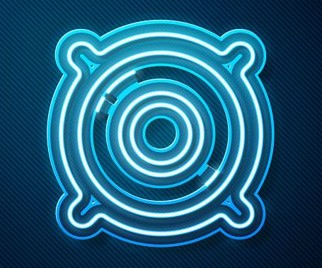 Glowing neon line Stereo speaker icon isolated on blue background. Sound system speakers. Music icon. Musical column speaker bass equipment. Vector Illustration