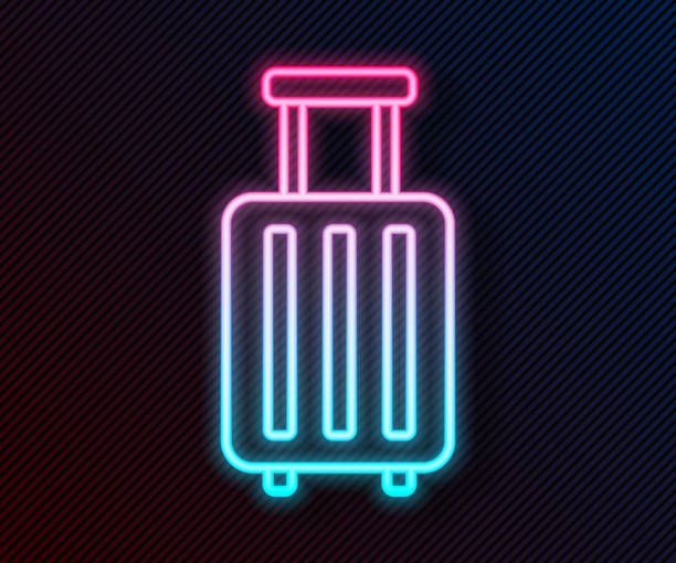 Glowing neon line Suitcase for travel icon isolated on black background. Traveling baggage sign. Travel luggage icon. Vector Illustration Glowing neon line Suitcase for travel icon isolated on black background. Traveling baggage sign. Travel luggage icon. Vector Illustration adventure clipart stock illustrations
