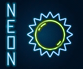 Glowing neon line Sun icon isolated on black background. Summer symbol. Good sunny day. Colorful outline concept. Vector Illustration
