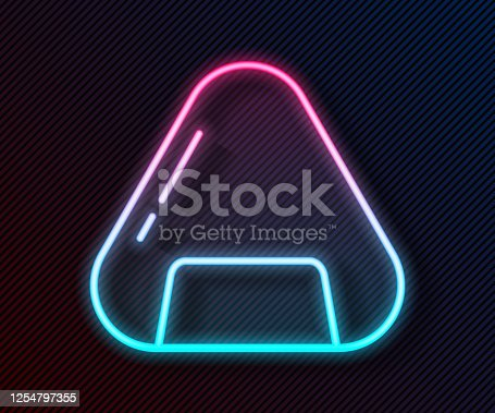 Glowing neon line Sushi icon isolated on black background. Traditional Japanese food. Vector Illustration
